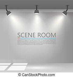 Room with a light source. Vector illustration