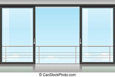 Room with a sliding door - The wall at home or with a...