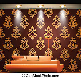Room with a sofa and light sources. Vector