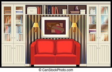 Illustration on the theme of housing, libraries, places for reading with sofa, sconce and bookcases. can be used in your design, advertising, illustration, animation, etc.