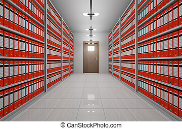 room with archive of office documents