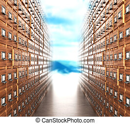 Room with archives. The archive corridor with cupboards leading to the light. 3D illustration