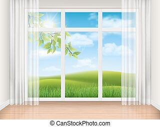 room with big window and summer landscape