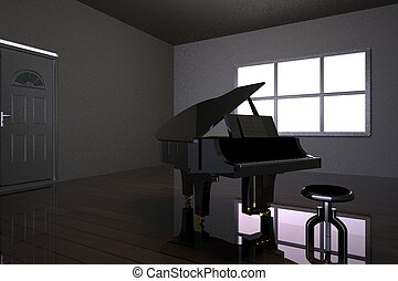 Room with black piano and window