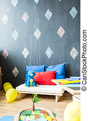 Room with black wall