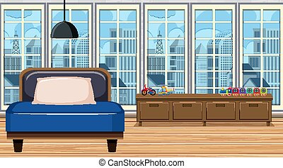 Room with blue safa and wooden shelf