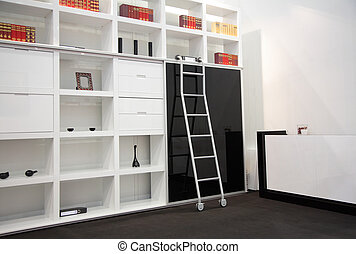 room with book cabinet - white room with book cabinet