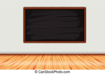 Room with chalkboard on the wall