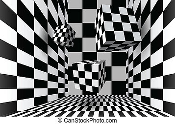 Room with checkered cubes