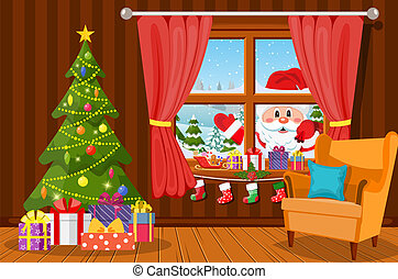 Room with christmas tree and presents