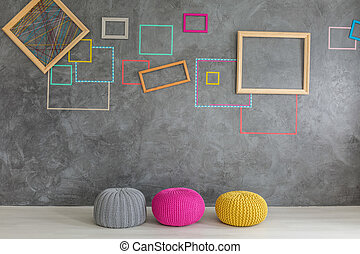 Room with colorful poufs