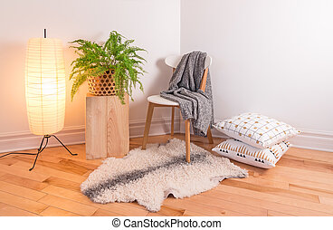 Room with cozy light decorated in Scandinavian style