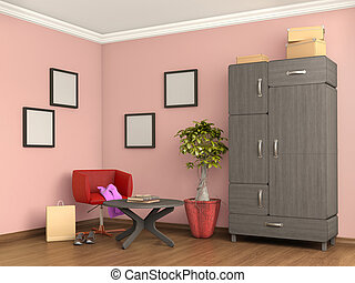 room with cupboard, armchair, closet, boxes and shoes, 3d, illustration