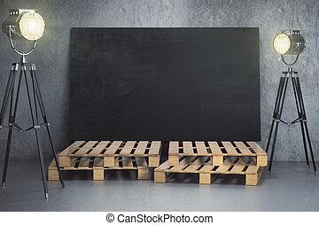 Room with empty chalkboard billboard and lighting