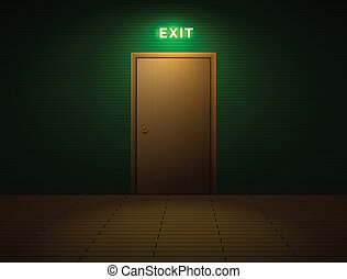 Room with exit sign - Dark room with shining exit sign above...