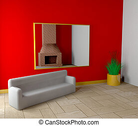 Room with fireplace and sofa