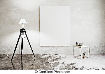 Room with floor lamp and poster