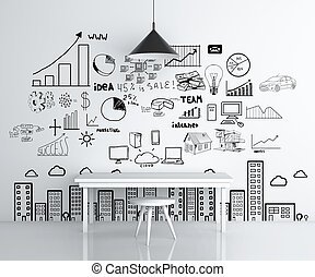 drawing business concept on wall