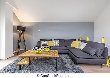 Room with gray corner sofa