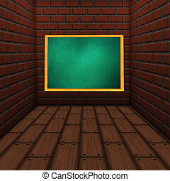 Room with green chalkboard