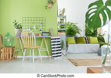 Room with green pot flowers - Green room with many green pot...