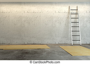 Room with ladder and empty wall