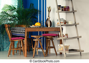 Room with ladder bookcase