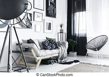 Room with metal furniture - Bright stylish room with metal...