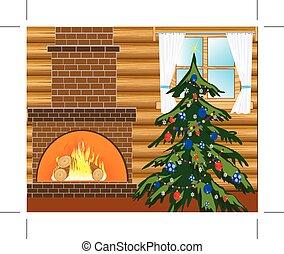 Room with natty fir tree