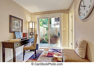 Room with office area and exit to backyard - Light ivory ...