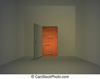 Room with open door, illustration