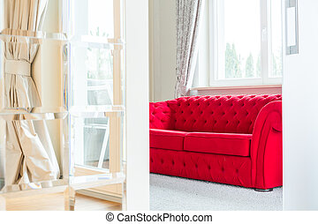 Room with red couch - Bright room interior with red couch
