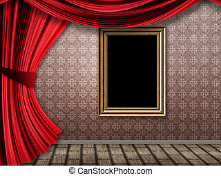 Room with red curtains and frame