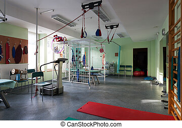 Room with rehabilitation equipment at hospital, horizontal