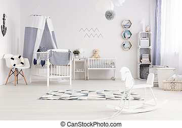 Room with rocking horse and bed