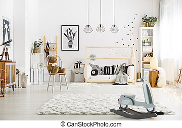 Room with rocking horse