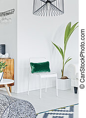 Room with simple white chair