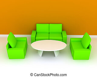 Room with sofa. 3D rendering