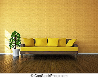 Room with sofa and a plant near the window