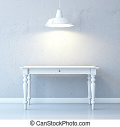 Room with table and ceiling lamp - Room with table and white...