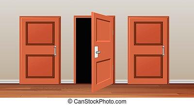 Room with three doors