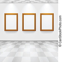 Room with three frames - White room with checked floor and...