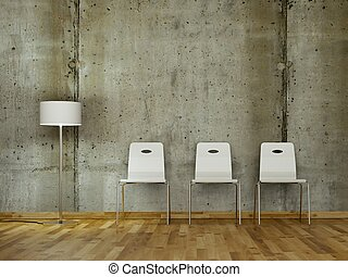 Room with three white in front of a concrete wall