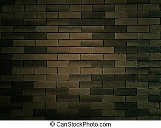 room with tile floor and brick black wall background