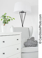 Room with white dresser