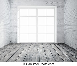 room with window - High resolution brick concrete room with...