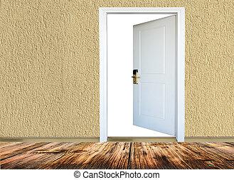 room with wooden floors, open door