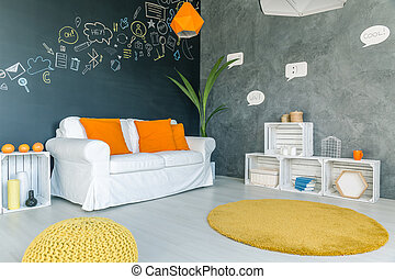 Room with yellow carpet