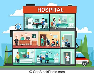 rooms., emergencia, oficina médica, vector, habitación, doctor, edificio, esperar, caricatura, cirugía, interior, hospital, ilustración, doctors, clínica
