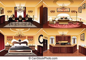 Rooms inside the house - A vector illustration of rooms...